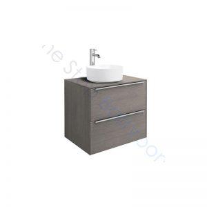 Roca Inspira City Oak 600 x 498mm 2 Drawer Wall Hung Base Unit , Countertop & Fine Ceramic 370mm Countertop Basin