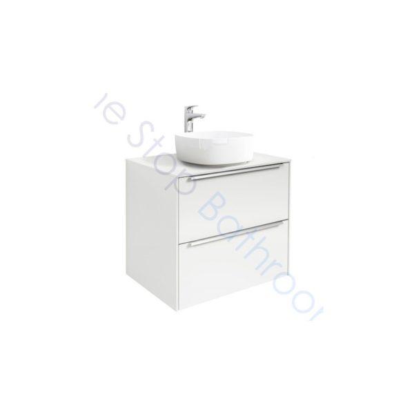 Roca Inspira Gloss White 600 x 498mm 2 Drawer Wall Hung Base Unit , Countertop and Fine Ceramic Countertop Basin