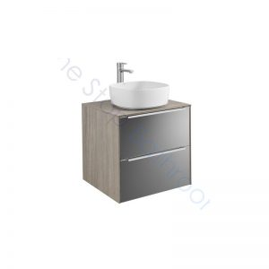 Roca Inspira 600 x 498mm 2 Drawer Wall Hung Base Unit , Countertop & Fine Ceramic 370mm Countertop Basin