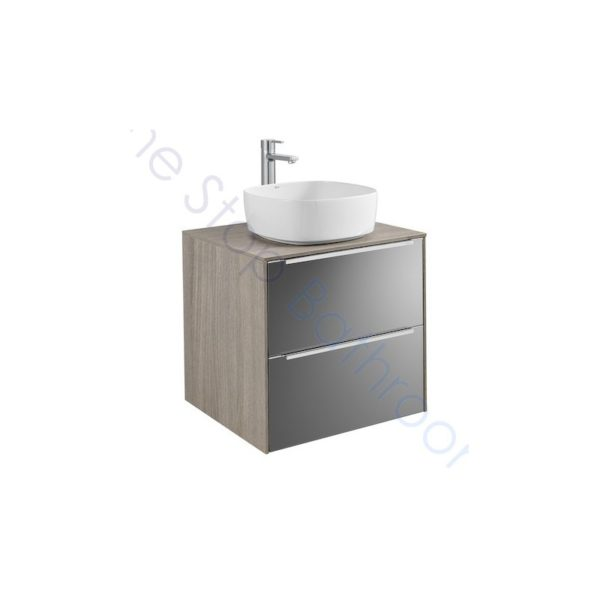 Roca Inspira City Oak Dark Mirror 600 x 498mm 2 Drawer Wall Hung Base Unit , Countertop and Fine Ceramic Countertop Basin