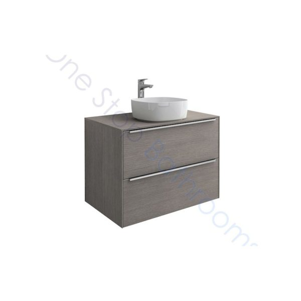 Roca Inspira City Oak 800 x 498mm 2 Drawer Wall Hung Base Unit , Countertop & Fine Ceramic 500mm Countertop Basin