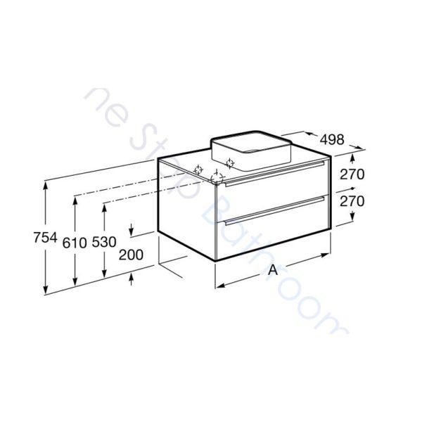 Roca Inspira City Oak 800 x 498mm 2 Drawer Wall Hung Base Unit , Countertop & Fine Ceramic 500mm Countertop Basin