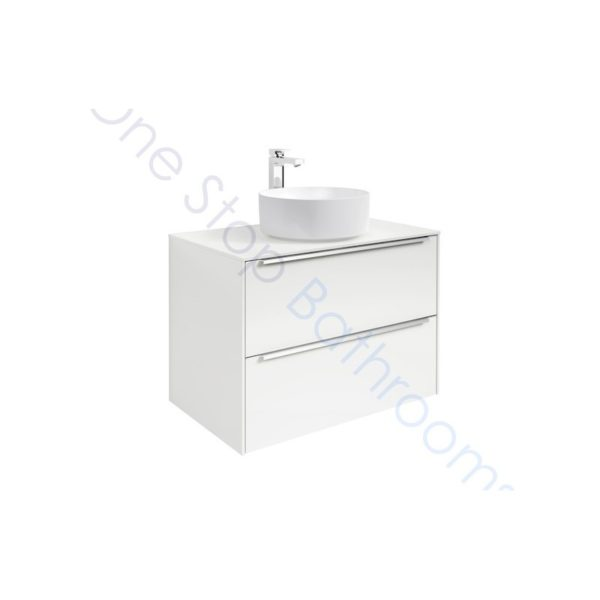 Roca Inspira Gloss White 800 x 498mm 2 Drawer Wall Hung Base Unit , Countertop & Fine Ceramic 500mm Countertop Basin