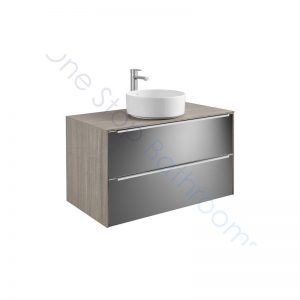 Roca Inspira City Oak Dark Mirror 1000 x 498mm 2 Drawer Wall Hung Base Unit , Countertop & Fine Ceramic 500mm Countertop Basin
