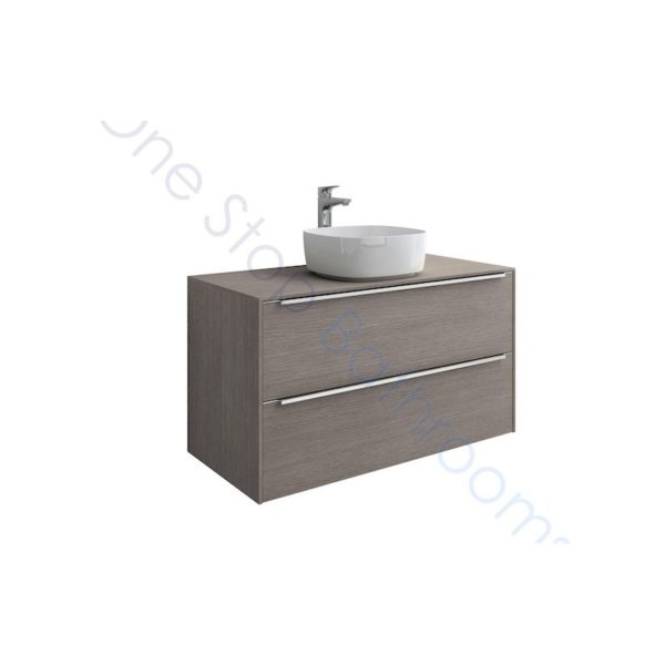 Roca Inspira City Oak 1000 x 498mm 2 Drawer Wall Hung Base Unit , Countertop & Fine Ceramic 500mm Countertop Basin