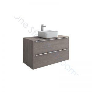 Roca Inspira 1000 x 498mm 2 Drawer Wall Hung Base Unit , Countertop & Fine Ceramic 500mm Countertop Basin