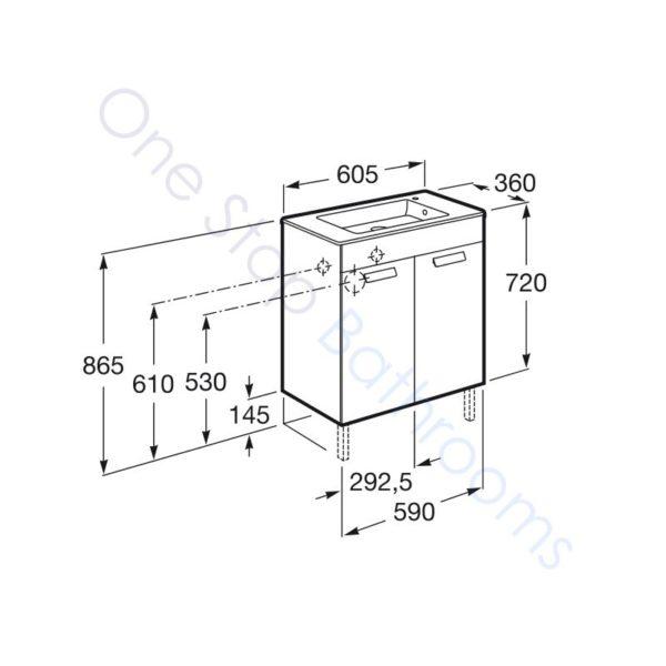 Roca Debba Unik Compact 600mm 2 Door Vanity Unit and Basin