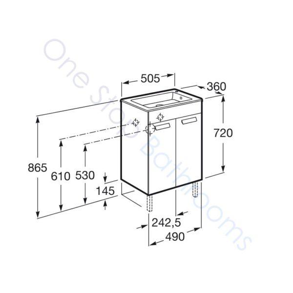 Roca Debba Unik Compact 500mm 2 Door Vanity Unit and Basin