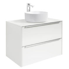 Roca Inspira 800 x 498mm 2 Drawer Wall Hung Base Unit , Countertop & Fine Ceramic 500mm Countertop Basin