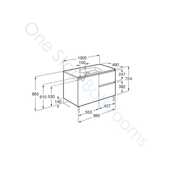 Roca Anima Unik 1000mm 2 Drawers, 1 Door Base Unit & Basin