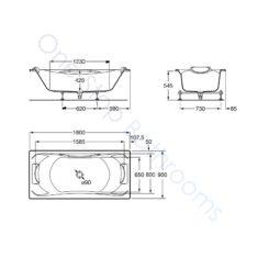 Roca BeCool 1800 x 900 Double-Ended Acrylic Bath – 1 Grip & 2 Headrests
