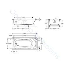 Roca BeCool 1800 x 800mm Acrylic Bath –  Grips & Headrest
