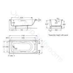 Roca BeCool 1700 x 700mm Acrylic Bath – Grips & Headrest
