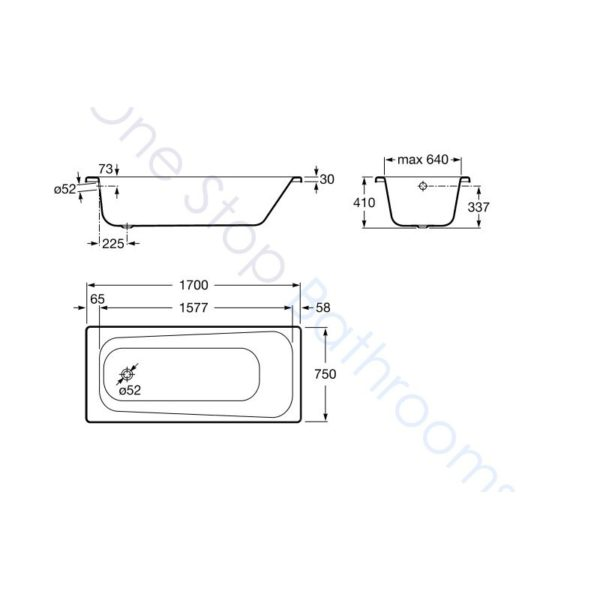 Roca Contesa Body Plus 1700 x 750 Recessed Steel Bath - With Anti-Slip