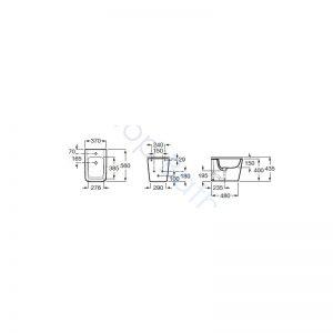 Roca Inspira Square Over-Rim BTW Bidet Pan & Soft Close Cover