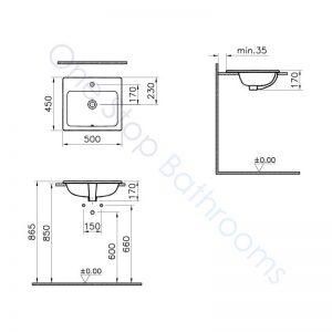 Vitra S20 Square Countertop Basin 50 x 45cm 1TH