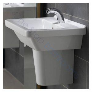 Vitra S50 Square Basin 50 x 43cm 1TH with Full,  Small Semi or Large Semi Pedestal
