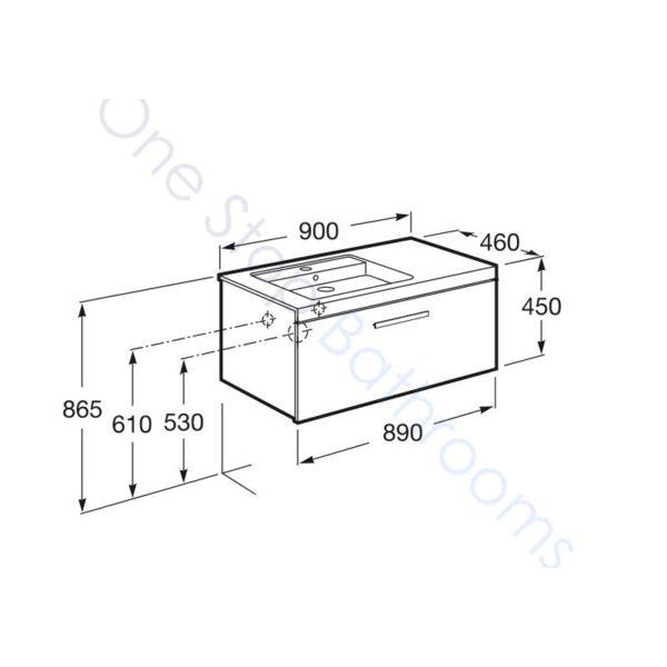 Roca Prisma Unik 900 x 460mm 1 Drawer Wall Hung Base Unit and LH Basin