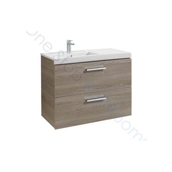 Roca Prisma Unik 900 x 460mm 2 Drawer Wall Hung Base Unit and LH Basin