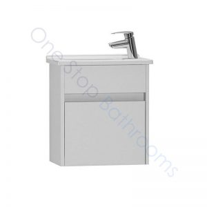 Vitra S50 45cm Compact Single Door Vanity Unit and Basin 1 RH TH – Gloss White