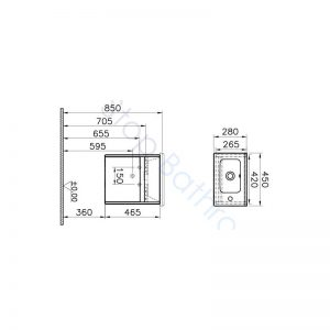 Vitra S50 45cm Compact Single Door Vanity Unit and Basin 1 RH TH – Gloss White