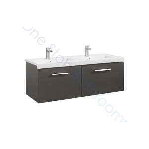 Roca Prisma Unik 1200 x 460 x 450mm 2 Drawer Wall Hung Base Unit and Double Basin