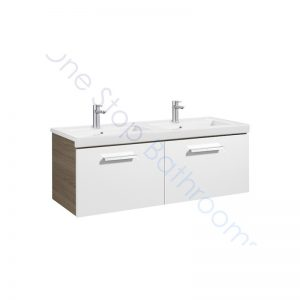 Roca Prisma Unik 1200 x 460mm 2 Drawer Wall Hung Base Unit and Double Basin