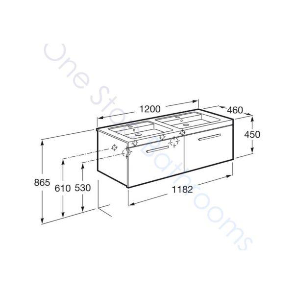 Roca Prisma Unik 1200 x 460mm 2 Drawer Wall Hung Base Unit and Double Basin