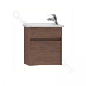 Vitra S50 45cm Compact Single Door Vanity Unit and Basin 1 RH TH – Oak