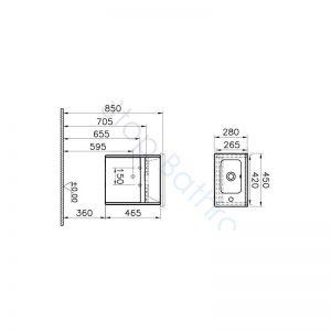 Vitra S50 45cm Compact Single Door Vanity Unit and Basin 1 RH TH – Oak