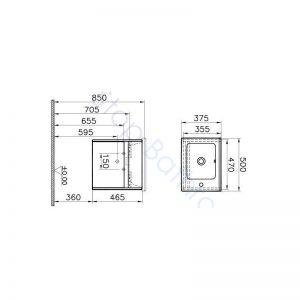 Vitra S50 50cm Compact Single Door Vanity Unit and Basin 1 RH TH – Gloss White