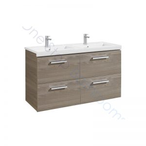 Roca Prisma Unik 1200 x 460mm 4 Drawer Wall Hung Base Unit and Double Basin