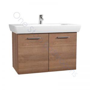 Vitra S20 85cm Wall Hung Double Door Vanity Unit with Basin – Golden Cherry