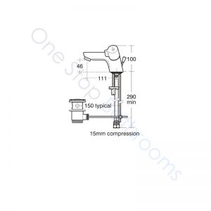 Ideal Standard Alto Dual Control 1TH Basin Mixer with Pop-Up Waste with Handles