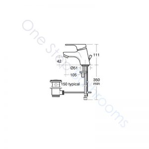 Ideal Standard Alto Basin Mixer Single Lever for Low Pressure C/W Pop-Up Waste