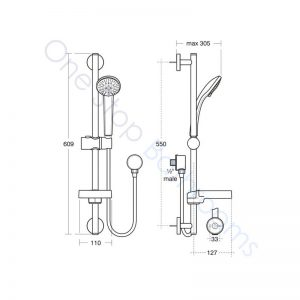 Ideal Standard Alto Ecotherm Idealrain S3 Shower Kit with 80mm 3 Function Handspray, 600mm Rail and 1.8m Hose