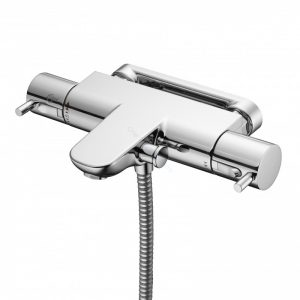 Ideal Standard Alto Ecotherm Bath/Shower Mixer with Metal Pin Handles and Fastfix Wall Bracket