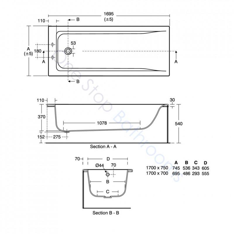 Ideal Standard Concept 5mm Acrylic 1700 X 700mm Bath