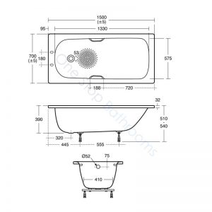 Ideal Standard Simplicity Steel 1500 x 700mm Bath with Twin Grips