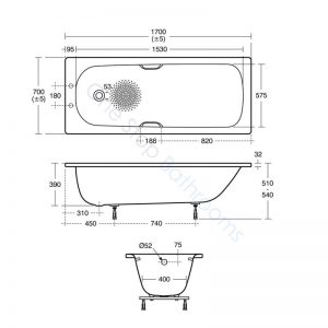 Ideal Standard Simplicity Steel 1700 x 700mm Bath with Twin Grips