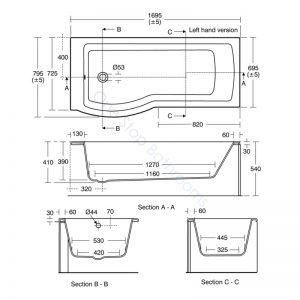 Ideal Standard Tempo Arc 5mm Acrylic Showerbath 1700mm – LH