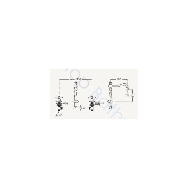 Roca Carmen Twin-Lever 3TH Deck-Mounted Basin Mixer