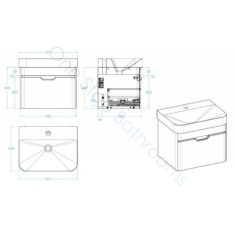 Tissino Loretto 570 x 436 x 480mm Basin Unit 1 Drawer – Gloss White
