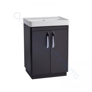 Tavistock Compass Gloss Clay 600mm 2 Door Floor Standing Unit and Basin with 1 Tap Hole