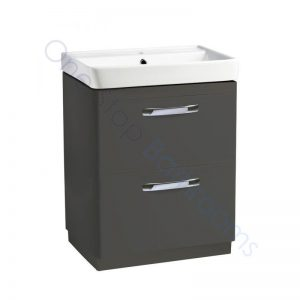 Tavistock Compass Gloss Clay 600mm 2 Drawer Floor Standing Unit and Basin with 1 Tap Hole