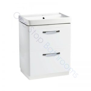 Tavistock Compass Gloss White 600mm 2 Drawer Floor Standing Unit and Basin with 1 Tap Hole