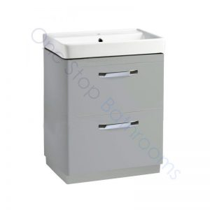 Tavistock Compass Gloss Light Grey 600mm 2 Drawer Floor Standing Unit and Basin with 1 Tap Hole