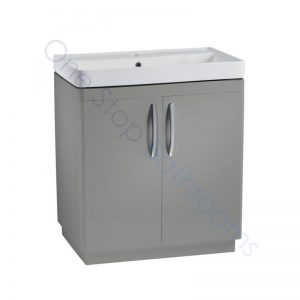 Tavistock Compass Gloss Light Grey 800mm 2 Door Floor Standing Unit and Basin with 1 Tap Hole