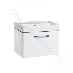 Tavistock Compass Gloss White 600mm Wall Hung Drawer Unit and Basin with 1 Tap Hole