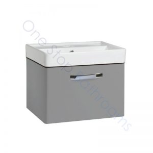Tavistock Compass Gloss Light Grey 600mm Wall Hung Drawer Unit and Basin with 1 Tap Hole